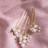 Kokówki na włosy z perłami złote