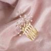 Grzebyk do włosów złoty z perłami
